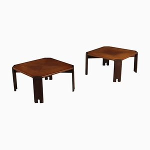 Small Tanganyika Walnut Veneer Side Tables, 1980s, Set of 2