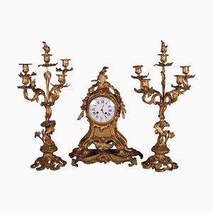 Triptych Clock Set in Bronze