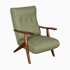 Italian Stained Beechwood, Foam & Fabric Armchair, 1950s
