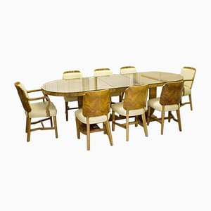 Dining Table & Chairs, 1930s, Set of 9