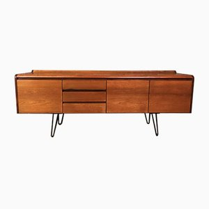Large Danish Minimalist Sideboard on Metal Hairpin Legs