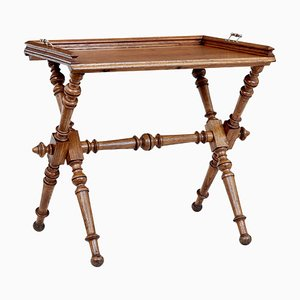 Late-19th Century Victorian Golden Oak Butlers Tray on Stand