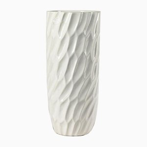 Italian White Ceramic Vase, 1990s
