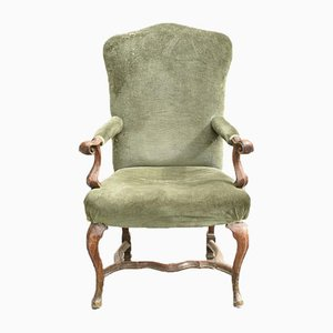 Antique Italian Walnut High Armchair, 1700s