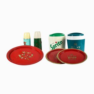 Thermos, Trays & Plastic Advertising Ice Buckets, Italy, 1980s, Set of 7