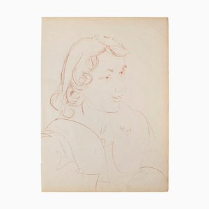 Portrait - Original Pastel on Ivory Paper - 1950 Mid-20th Century