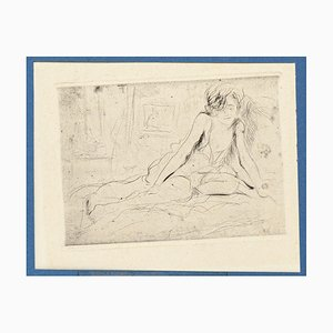 Nude - Original Etching on Paper by Joseph Darche - Late 19th Century Late 19th Century