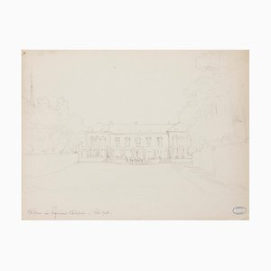Mansion - Original Drawing in Pencil by J. Hébert - Early 20th Century Early 20th Century