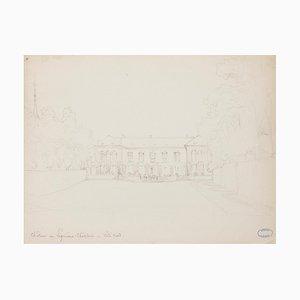 Mansion - Original Drawing in Pencil von J. Hébert - Frühes 20. Jahrhundert Frühes 20. Jahrhundert