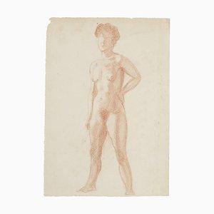 Nude - Original Drawing In Sanguine - 20th Century 20th Century