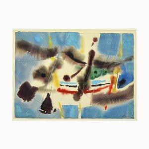 Paesaggio marino - Disegno originale su supporti misti - anni '60