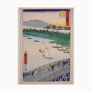 The Great Bridge over the Toyo River - by Hiroshige Utagawa - 1855 1855