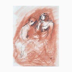 Figuren - Original Bleistift und Pastell auf Papier - Mitte 20. Jahrhundert 20. Jahrhundert