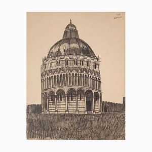 Baptisterium in Pisa - Original Feder auf Papier - Spätes 19. Jh. Ende 19. Jh