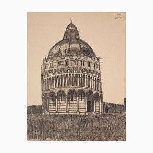 Pisa Baptistery - Original Pen on Paper - Late 19th Century Late 19th Century