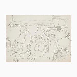 Sur la Plage - Crayon Original sur Papier - 20ème Siècle 20ème Siècle