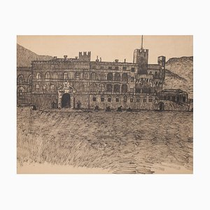 Fortified Palace - Original Drawing in Pen - Late 19th Century Late 19th Century