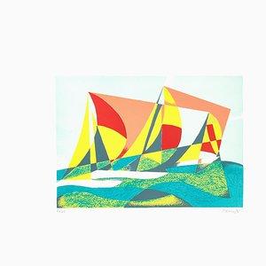 Lithographie Seascape + Sails - Original par O. Peruzzi - 1988 1988