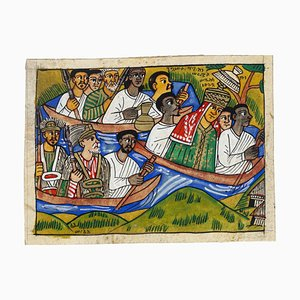 Procession - Original Mixed Media on Ivory-colored Cardboard - 20th Century 20th Century