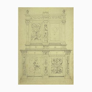 Design of Furniture - Original Pen and Pencil on Paper - 1850 1850