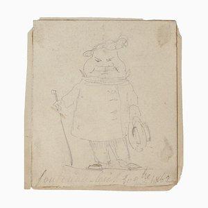 Caricature - Original Drawing In Pencil - 1864 1864