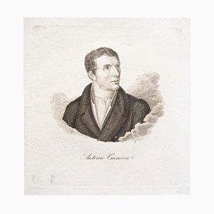 Portrait of Antonio Canova - Original Etching on Paper after Pellegrini - 1870 1870