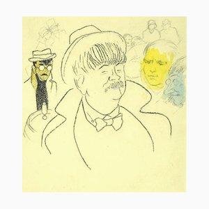 Portrait - Crayon et Pastels Original sur Papier - 1940 1940
