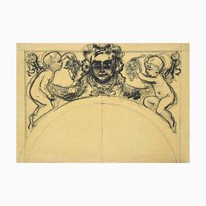 Feston Plume Original sur Papier par un Artiste Français 19ème Siècle 19ème Siècle