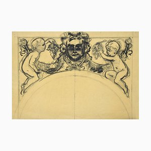 Festoon - Original Pencil on Paper by a French Artist - 19th Century 19th Century