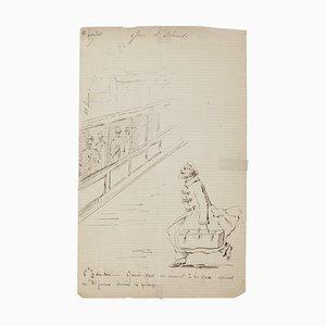 La Gare d'Ostande - Original Drawing in Pen - Late 19th Century Late 19th Century