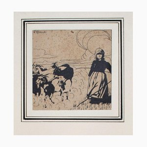 Pastorella (Shepherdess)- China Ink on Paper by G. Roveroni - Early 20th Century Early 20th Century