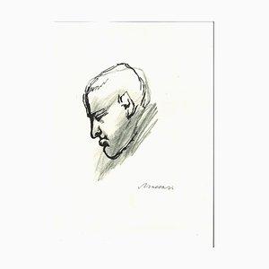 Porträt von Giorgio Morandi - Original Stift und Bleistiftzeichnung - 1960er 1960er Jahre