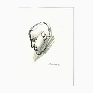 Portrait of Giorgio Morandi - Original Pen and Pencil Drawing - 1960s 1960s