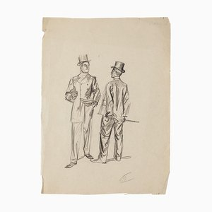 Gentlemen - Original Drawing in Pencil - Early 20th Century Early 20th Century