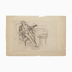 Figure - Original Drawing in Pencil - Late 19th Century Late 19th Century