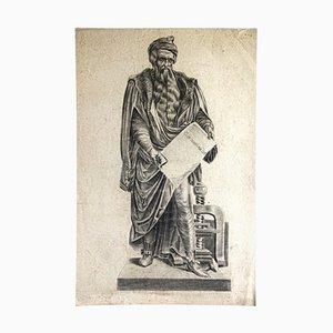 Portrait of Johann Gutenberg - Original Pencil on Paper - 19th Century 19th Century