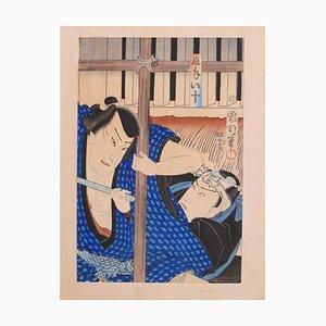 Two Samurai Fighting with a Stick - Original Woodcut by Kunichika Toyohara 1880s