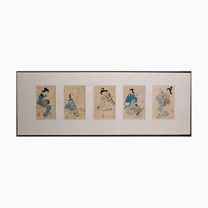 Five Beauties - Set of 5 Original Woodblock Prints - Japan Late 19th Century Late 19th Century