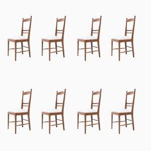 Vintage Modernist Oak Chairs, 1940s, Set of 8