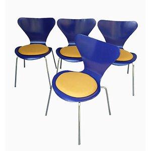 Chaises 3107 par Arne Jacobsen pour Fritz Hansen, 1976, Set de 4