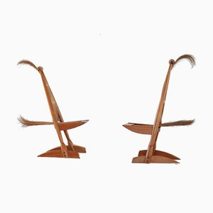 Italian Sculptural Side Chairs in Tropical Wood & Rattan, Set of 2