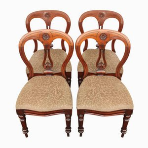 Antique Mahogany Balloon Back Dining Chairs & Pop-Out Seat Chairs, 1900s, Set of 4
