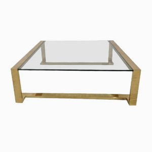 Glass and Brass Coffee Table, 1970s
