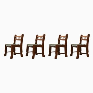 Mid-Century Belgian Oak Dining Chairs, 1970s, Set of 4