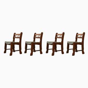 Mid-Century Belgian Oak Dining Chairs, 1970s, Set of 4