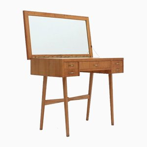 Scrivania vintage in quercia con specchio, anni '50