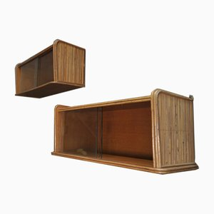 Small Wall Shelves in Wicker, 1960s, Set of 2