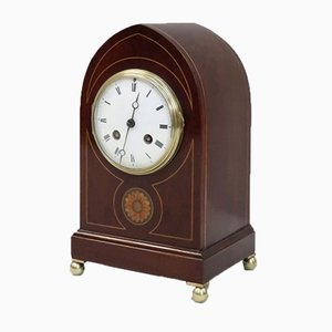 French Belle Epoque Mahogany Mantel Clock from Samuel Marti, 1900s