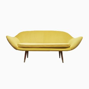 Three-Seater Curved Sofa in Luxury Golden Velvet, 1960s