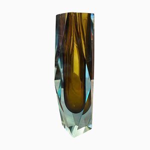 Blue and Brown Faceted Sommerso Murano Glass Vase from Seguso, 1970s